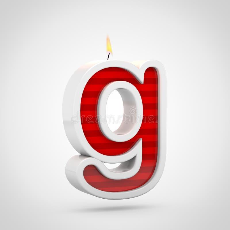 Строчная буква g письма свечи дня рождения изолированная на белой предпосылке иллюстрация вектора