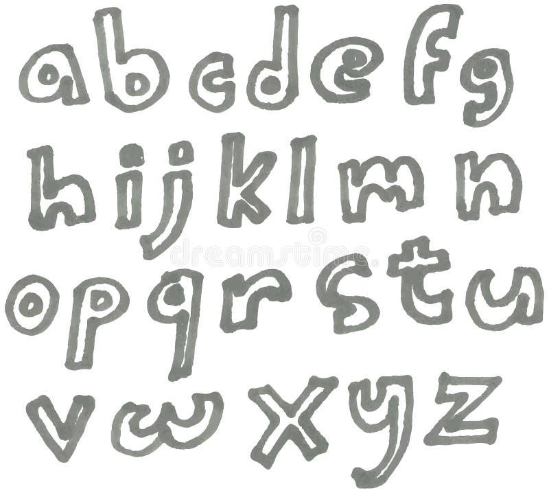 Строчный алфавит отметки иллюстрация штока