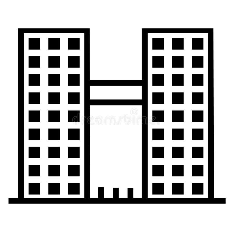 Строя значок вектора Городской пейзаж с деловыми центрами небоскребов и современными гостиницами и таунхаусами офисов иллюстрация вектора