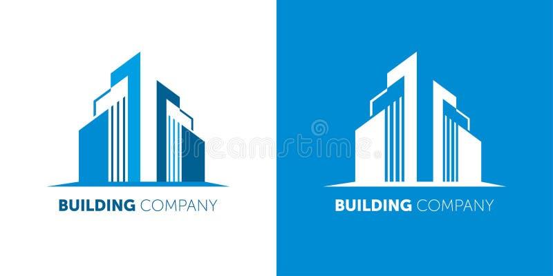Строя логотип компании Современные компании имущества логотипа по-настоящему и домашние обслуживания иллюстрация вектора