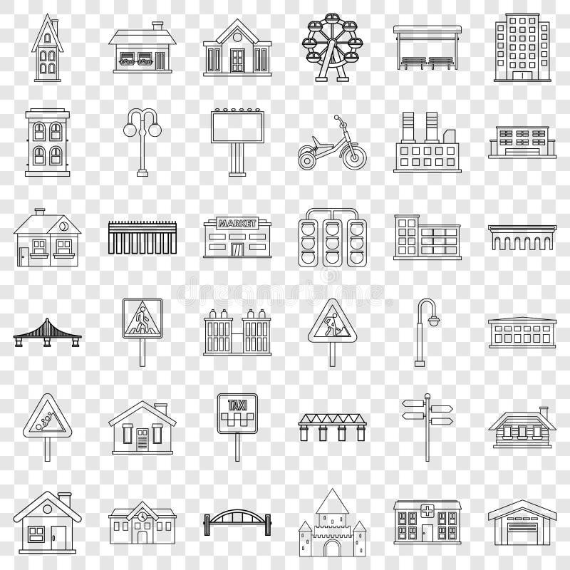 Строя набор значков, стиль плана иллюстрация штока