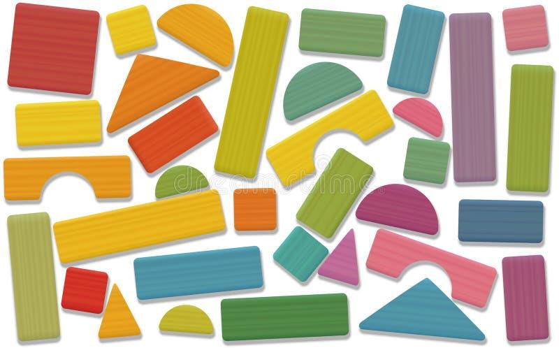 Строя покрашенные блоки игрушки свободно аранжированными иллюстрация штока