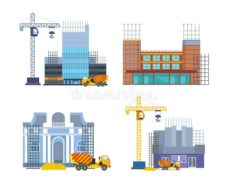 Строя процесс работы с домами и машинами конструкции Город, дом бесплатная иллюстрация
