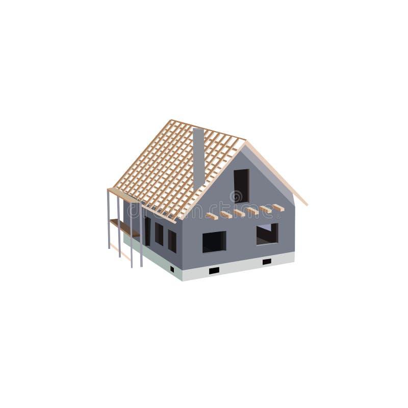 Строя работы и незаконченный дом на жизнь privat иллюстрация штока