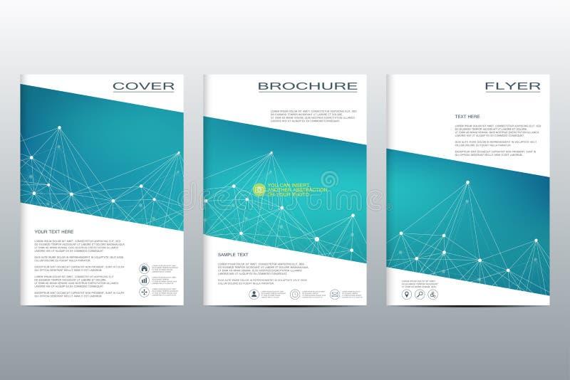 Структура кассеты годового отчета крышки рогульки плана шаблона брошюры молекулярных частиц и конспекта атома полигонального бесплатная иллюстрация
