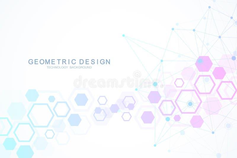 Структура молекулы с частицами Шестиугольная геометрическая предпосылка медицинское исследование научное Наука и техника иллюстрация вектора