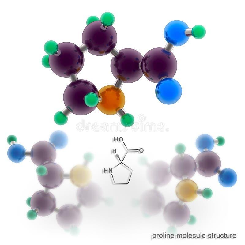 Структура молекулы пролина иллюстрация вектора