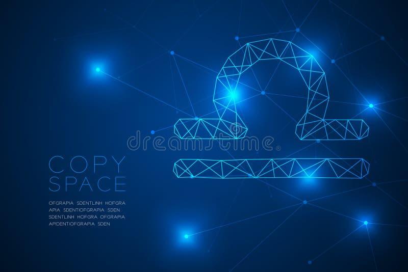Структура рамки полигона wireframe знака зодиака Libra, иллюстрация дизайна концепции рассказчика удачи иллюстрация штока
