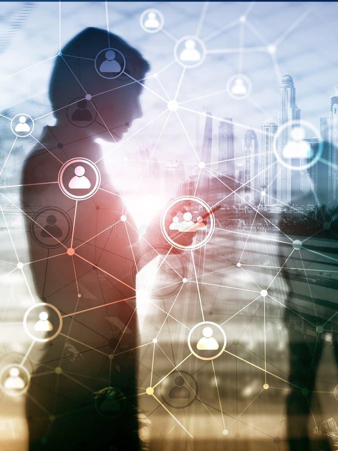 Структура сети HR людей двойной экспозиции - человеческие ресурсы управление и концепция рекрутства иллюстрация штока