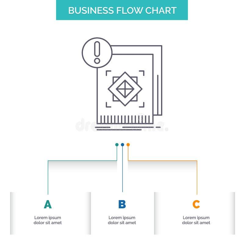 структура, стандарт, инфраструктура, информация, бдительный дизайн графика течения дела с 3 шагами Линия значок для представления иллюстрация штока