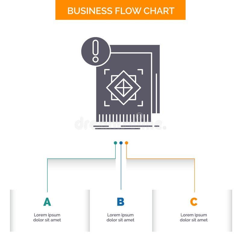 структура, стандарт, инфраструктура, информация, бдительный дизайн графика течения дела с 3 шагами Значок глифа для представления бесплатная иллюстрация