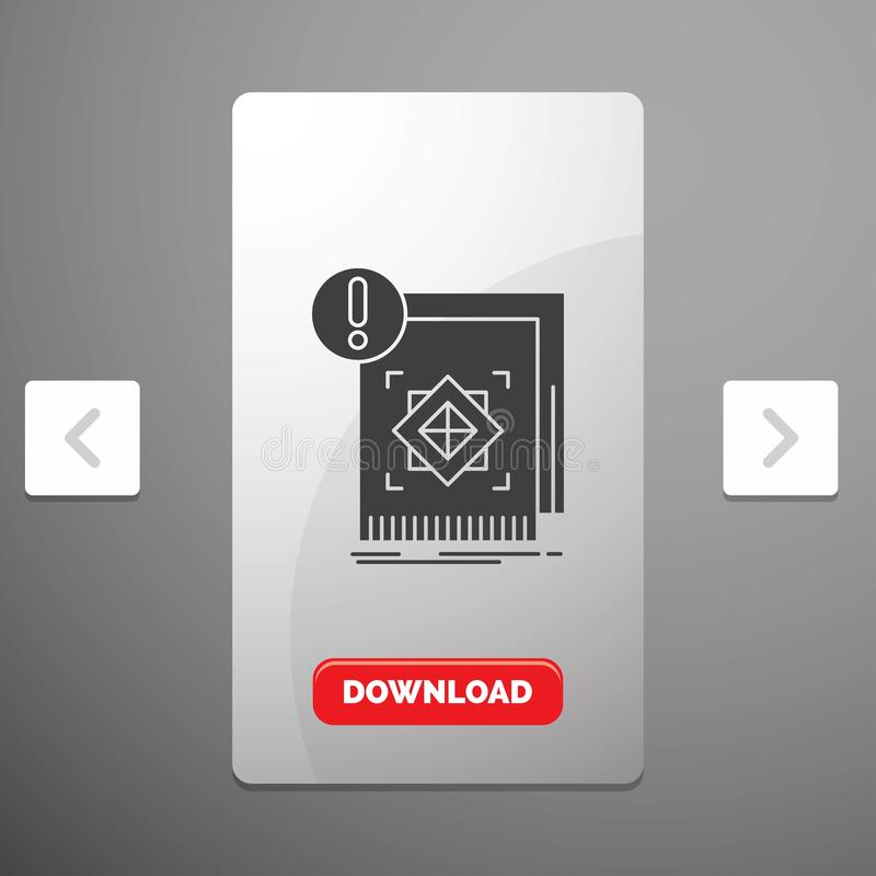 структура, стандарт, инфраструктура, информация, бдительный значок глифа в дизайне слайдера пагинаций Carousal & красная кнопка з бесплатная иллюстрация