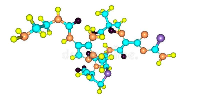 Структура Ceftolozane молекулярная изолированная на белизне иллюстрация штока