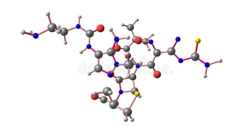 Структура Ceftolozane молекулярная изолированная на белизне иллюстрация вектора