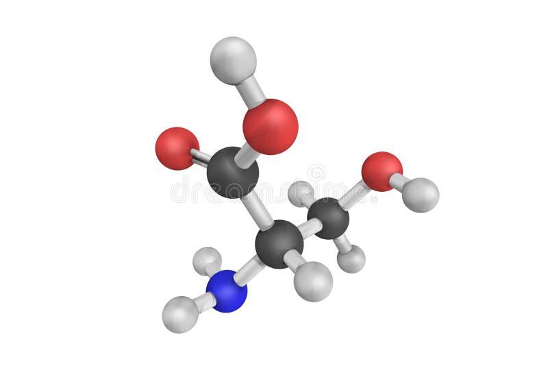 структура 3d серина сокращенная как Ser или зашифрованного s иллюстрация штока