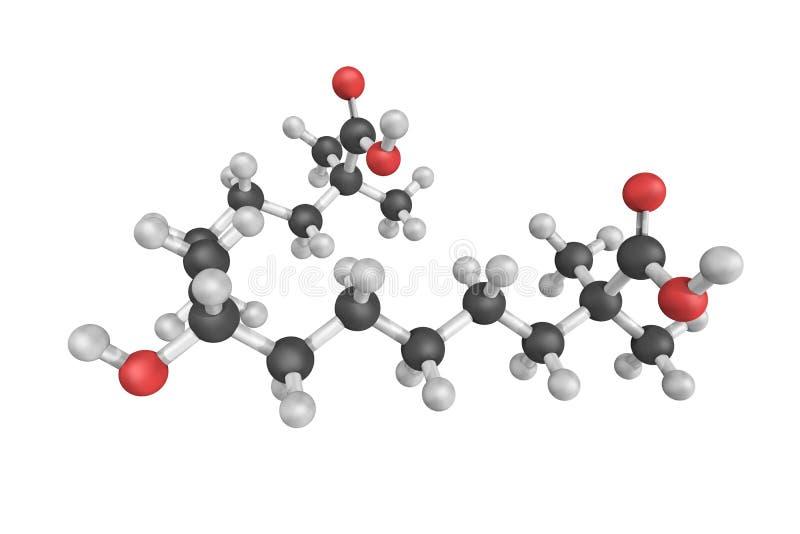 структура 3d bempedoic кислоты, устно доступного, низко-плотность иллюстрация вектора