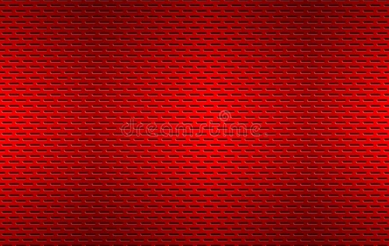 Структурированная красно-перфорированная металлическая текстура, алюминиевая решетка, абстрактный металлический фон бесплатная иллюстрация