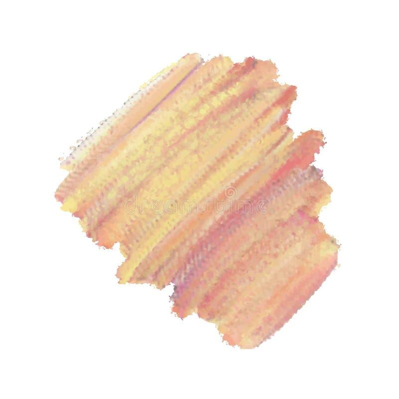 Структурная оранжевая краска с неединобразной текстурой Покрасьте мазок Красивые ходы краски масла изолированные на белизне иллюстрация вектора