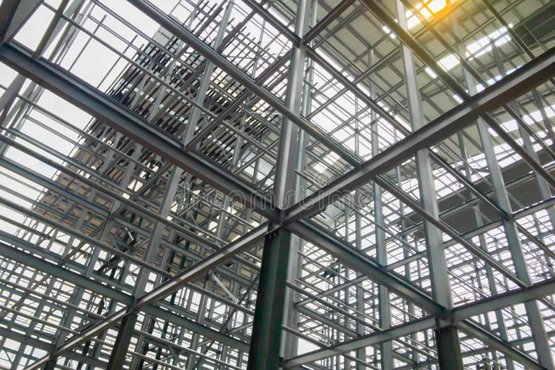 Структуры здания сделанные из стали с твердой прочностью стоковое изображение