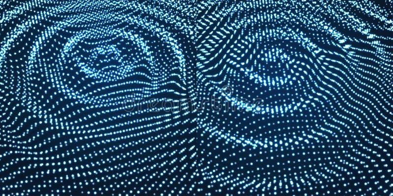 Струят шаблон предпосылки Иллюстрация абстрактной науки или технологии с частицой поверхность решетки 3D иллюстрация вектора