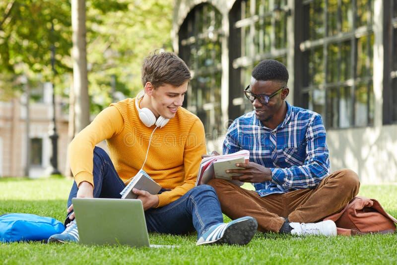 2 студента колледжа сидя на траве стоковая фотография rf