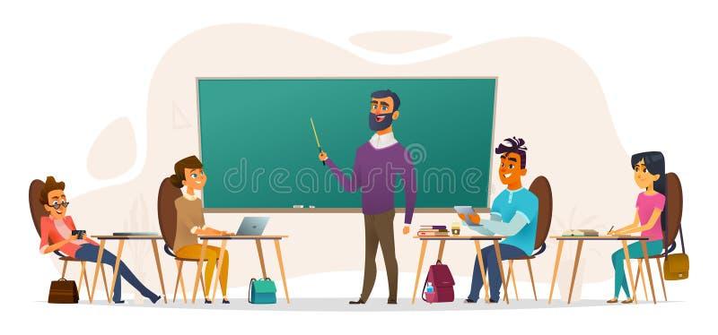 Студенты в аудитории Молодые люди сидя на таблицах и слушая к лекции Плоская иллюстрация вектора шаржа иллюстрация вектора