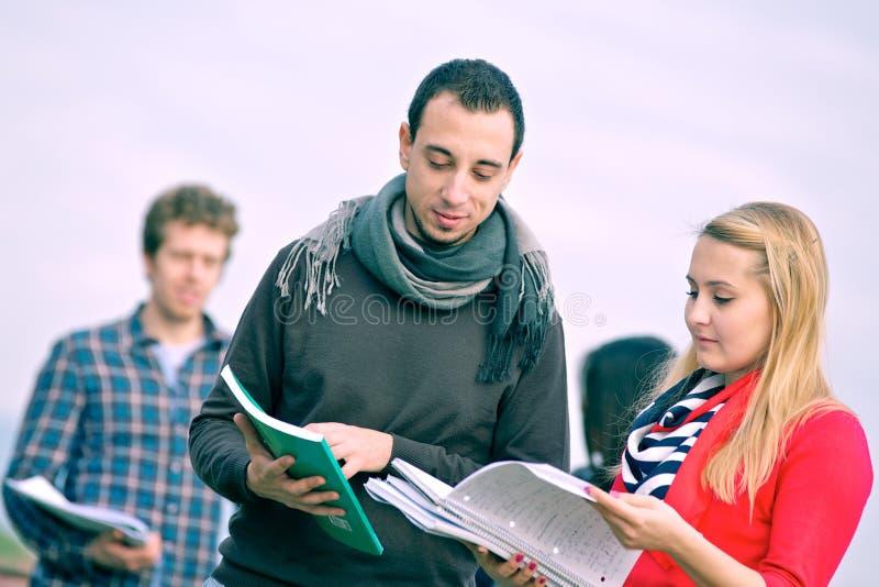 студенты группы коллежа multiracial стоковая фотография rf