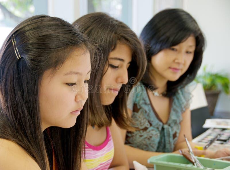 студенты искусства стоковое изображение rf