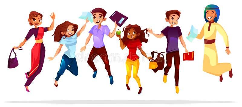 Студенты колледжа скача вверх по иллюстрации вектора бесплатная иллюстрация