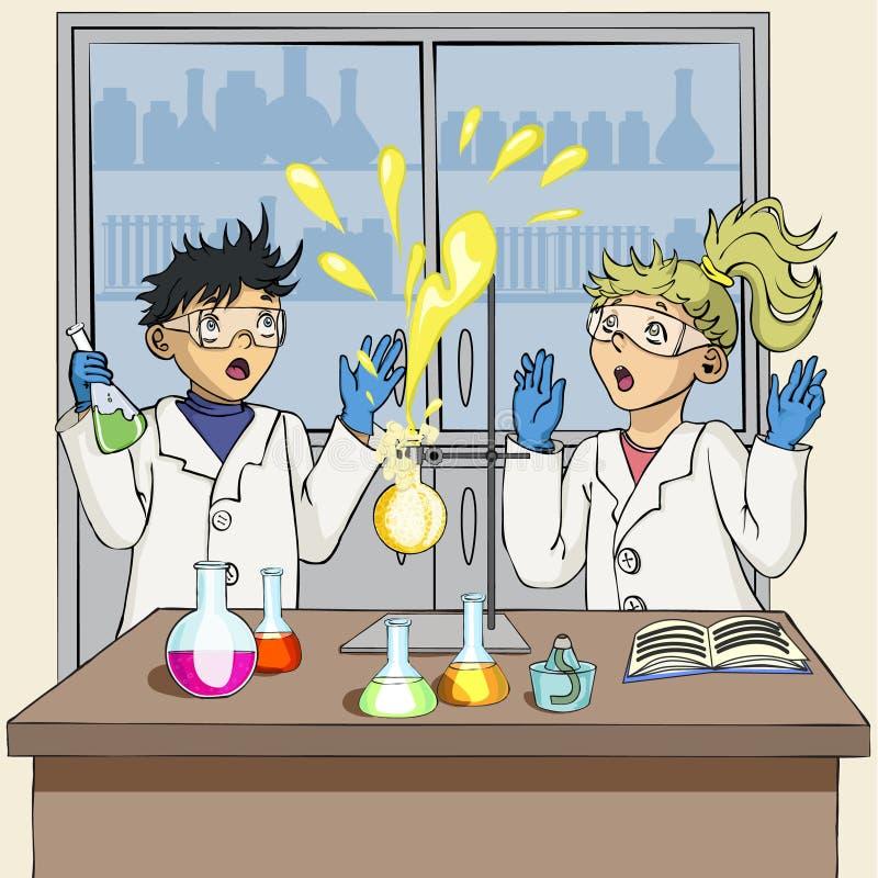 Студенты проводят химический эксперимент Эксперимент потерпел неудачу иллюстрация вектора
