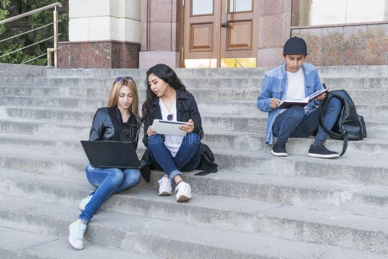 Студенты сидя на лестницах стоковые изображения rf