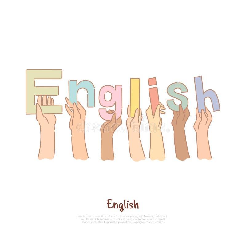 Студенты университета держа письма в руках, изучая в Великобритании, знамя уроков международного языка иллюстрация вектора