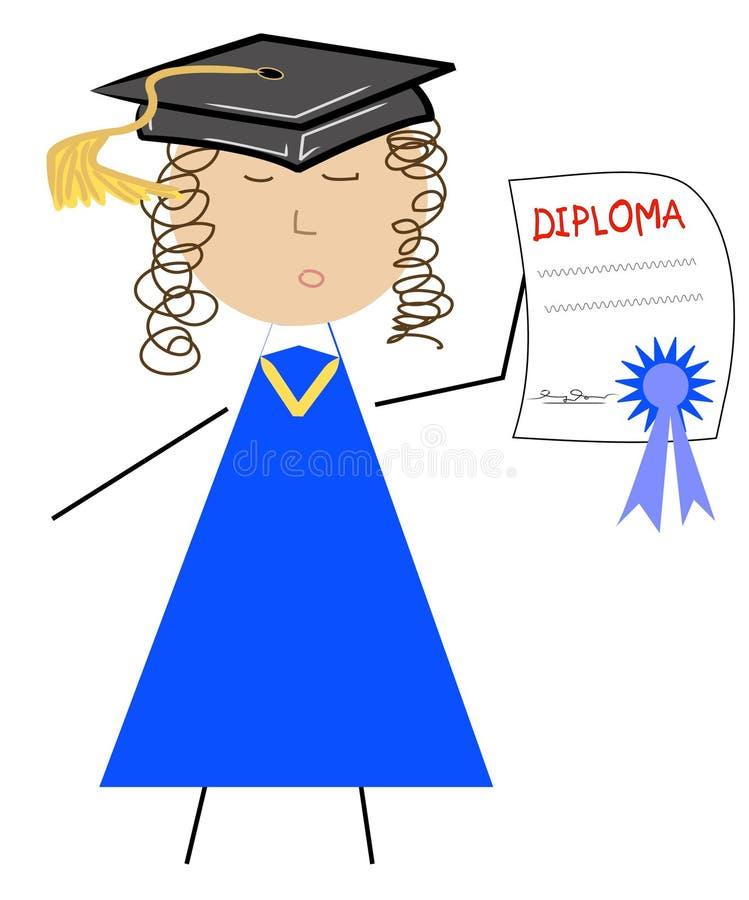 студент-выпускник шаржа иллюстрация вектора