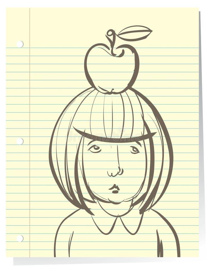 студент девушки маленький унылый иллюстрация штока