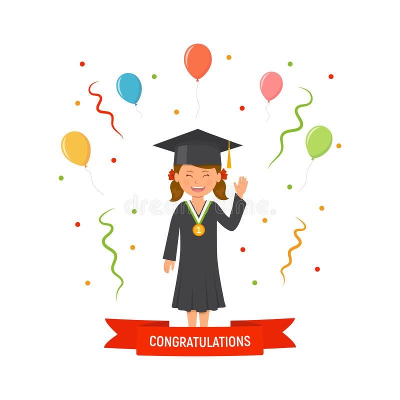 Студент девушки с мантией и шляпой градации Церемония концепции градаций Студент с медалью Знамя поздравлению бесплатная иллюстрация