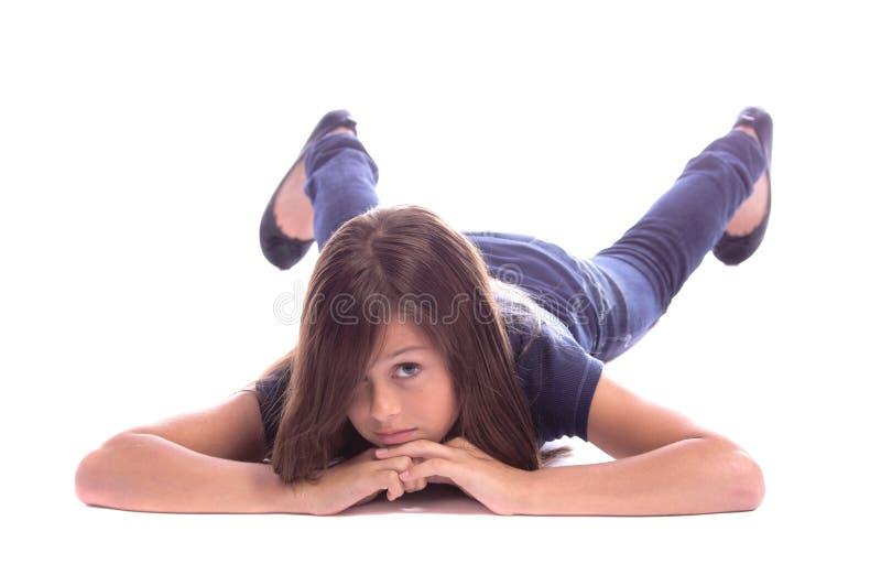 студент девушки relaxed стоковое изображение rf
