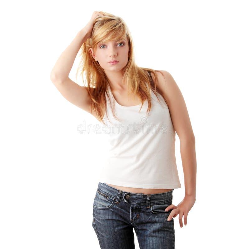 студент джинсыов девушки стоковые фотографии rf