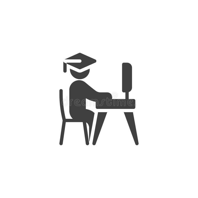 Студент изучая на значке вектора ноутбука иллюстрация вектора