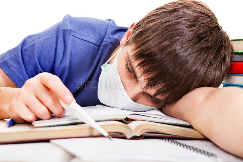 Студент с гриппом стоковая фотография