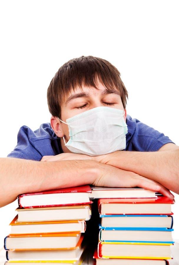 Студент с гриппом стоковое изображение rf