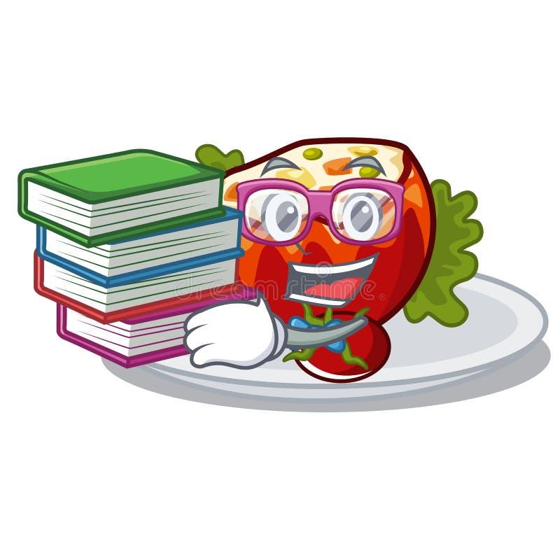 Студент с книгой заполнил томаты в форме мультфильма иллюстрация штока