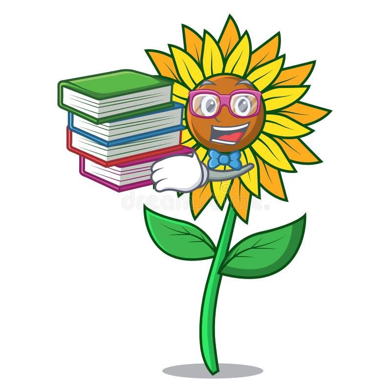 Студент с стилем шаржа талисмана солнцецвета книги иллюстрация штока
