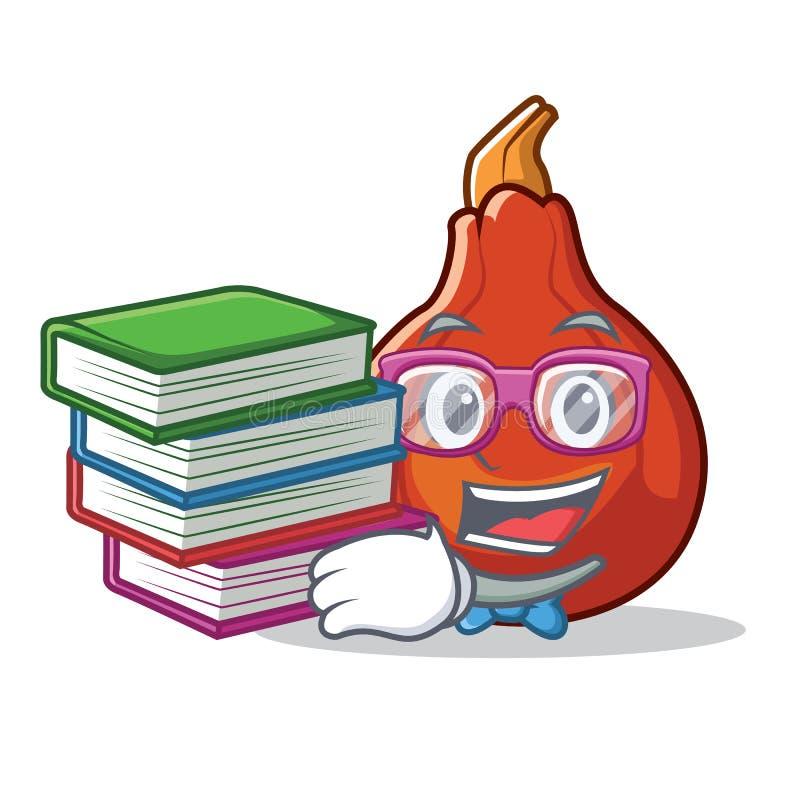 Студент с шаржем талисмана сквоша kuri книги красным иллюстрация штока