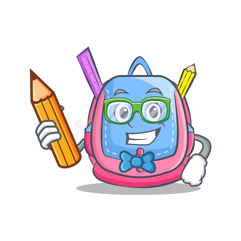 Студент с шаржем характера сумки школы карандаша иллюстрация вектора