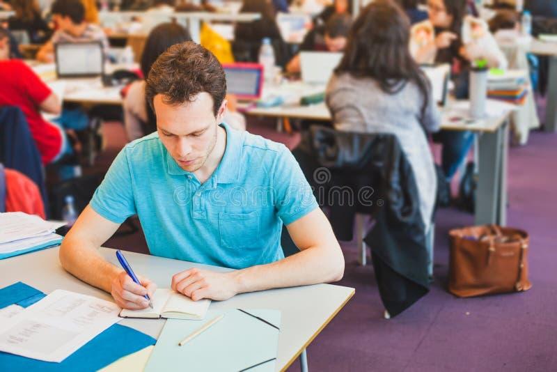 Студент университета в библиотеке стоковые изображения rf