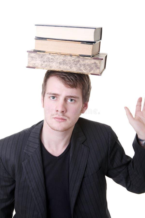 студент учить балансируя книг стоковые изображения rf
