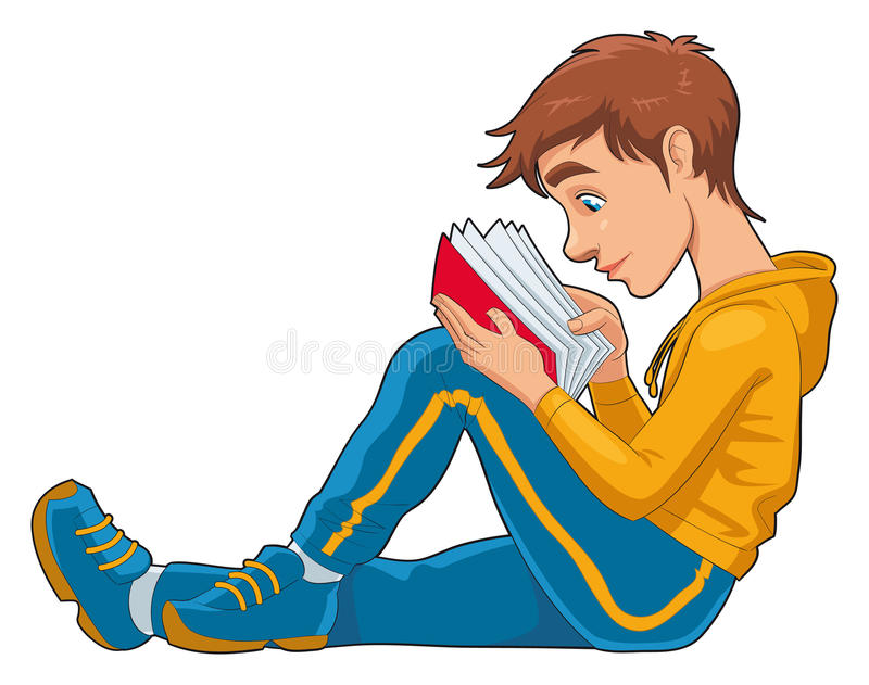 студент чтения бесплатная иллюстрация