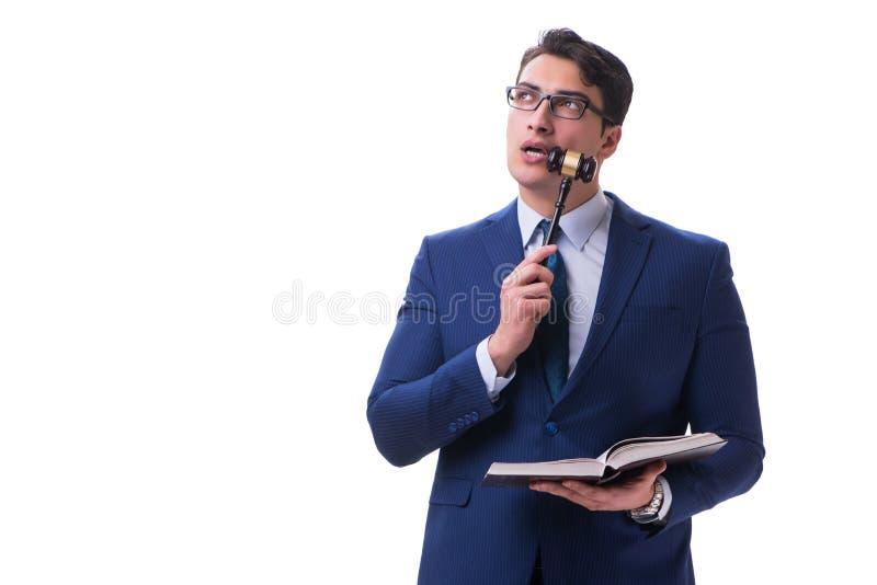 Студент юридического факультета юриста при молоток изолированный на белой предпосылке стоковое фото rf