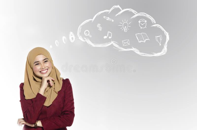 Студент muslimah улыбки стоя и думая ее жизнь и цель в кампусе стоковое изображение rf