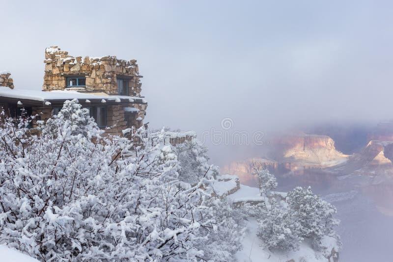 Студия бдительности во время шторма снега зимы в национальном парке гранд-каньона стоковая фотография